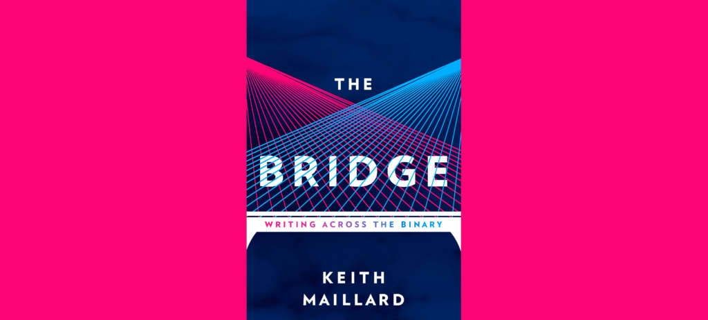 Cover of The Bridge, showing an illustration of a suspension bridge with pink and blue lines